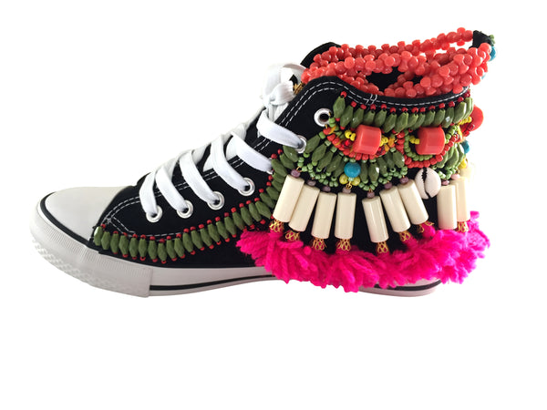 Huxley Beaded Embellished High Top Canvas Sneakers