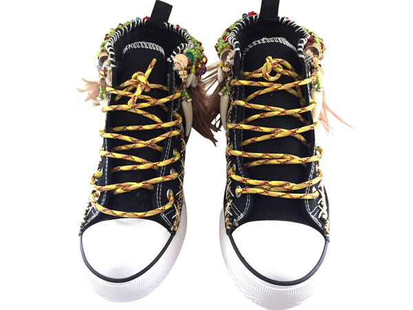 Hanya Beaded Embellished High Top Canvas Sneakers