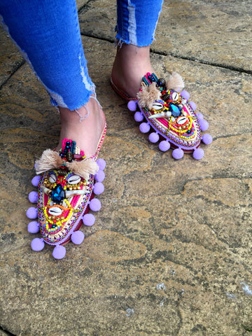 Odine Embellished Beaded Shell Leather And Raffia Pom-Pom Slippers By Anita Quansah London