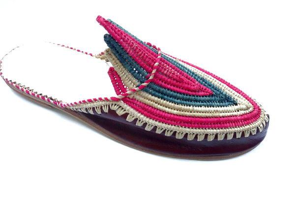 Akila Red Leather Multicoloured Raffia Slippers