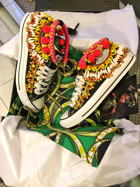 Monet Beaded Embellished Low Top Canvas Sneakers