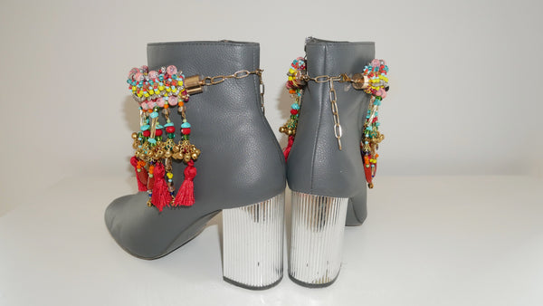 Inaya Multi-Beaded Embellished Charm And Tassel Anklets