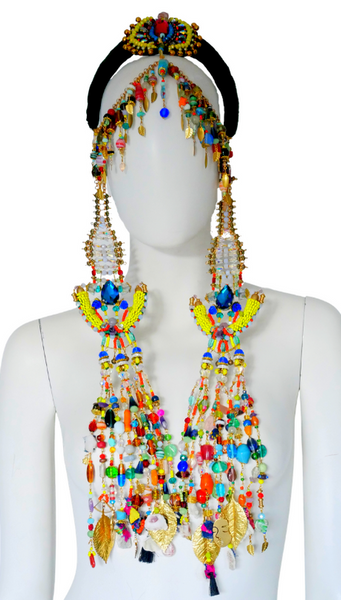 Idia Colourful Multi-Beaded Swarovski Crystal and Gemstone Embellished Fringe Headpiece with Detachable Pendants
