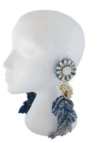 Ihedimma Beaded Crystal-Embellished Denim Bird Earrings