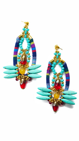 Indira Turquoise and Yellow Jade-Embellished Gold Plated Drop Earrings
