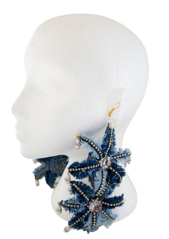 Iredia Crystal-Embellished Distressed Denim Oversized BloomEarrings