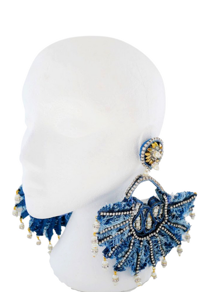 Isabis Embellished Rhinestone Denim Fan Earrrings 2