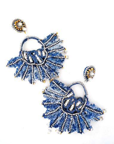 Isabis Embellished Rhinestone Denim Fan Earrrings