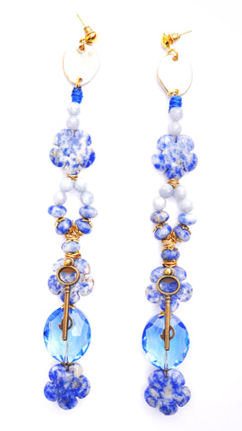 Jasira Lapis Lazuli and Crystal Embellished Drop Earrings