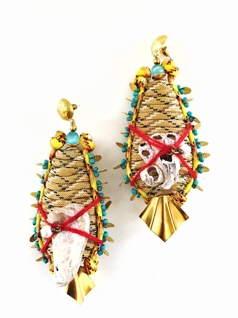 Jolie Embellished Shell Cord Drop Earrings