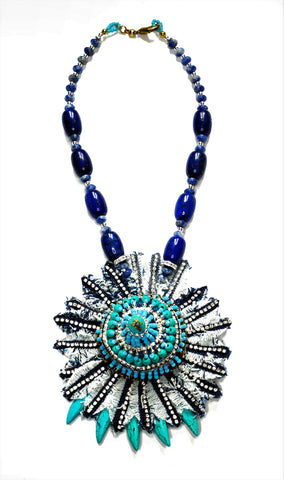 Junko Turquoise and Lapis lazuli Denim and Rhinestone-Embellished Pendant Necklace