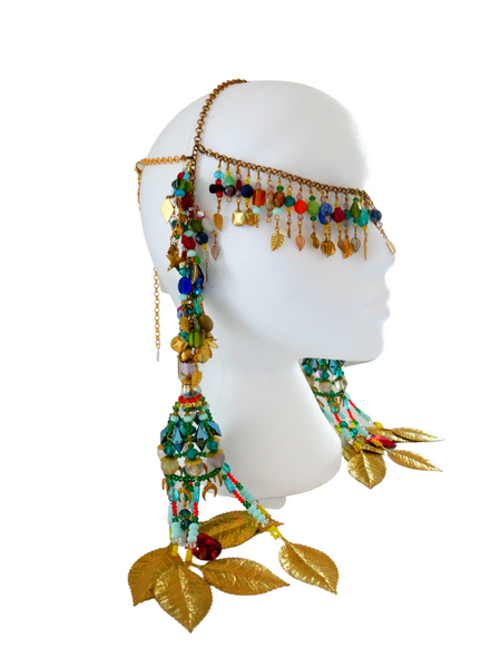 KeneKene Multi-Beaded Swarovski Crystal and Gemstone Embellished Fringe Headpiece