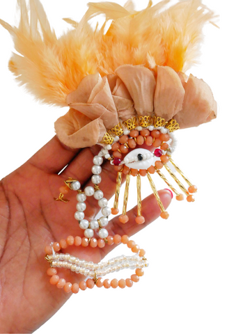 Khari Beaded Rose Petals And Feather Hair Slide