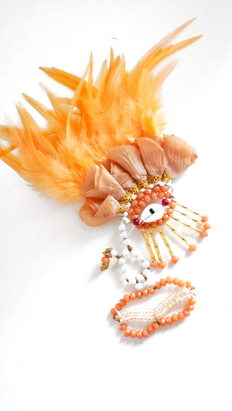 Khari Beaded Rose Petals And Feather Hair Slide By Anita Quansah London