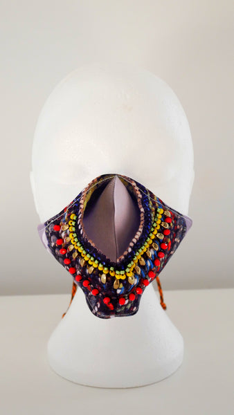 LIMITED EDITION OGE PRINT BEADED FACE MASK