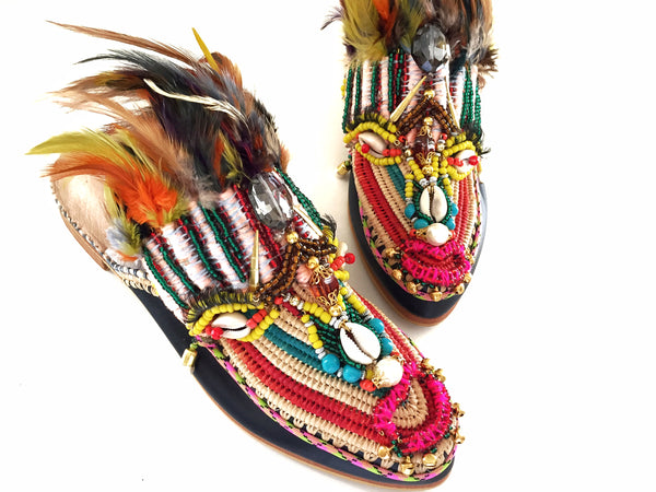 Luna beaded embellished raffia feathers slippers for women