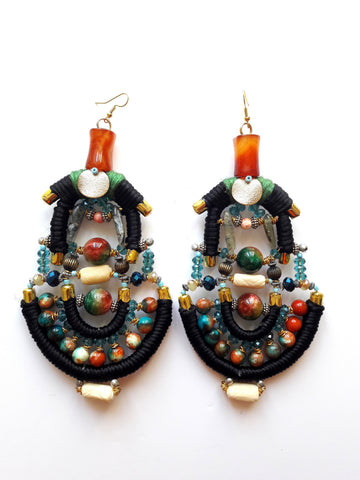 Luna Beaded Statement Earrings