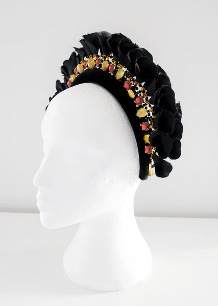 Lulie Beaded Embellished Flower Black Velvet Headband