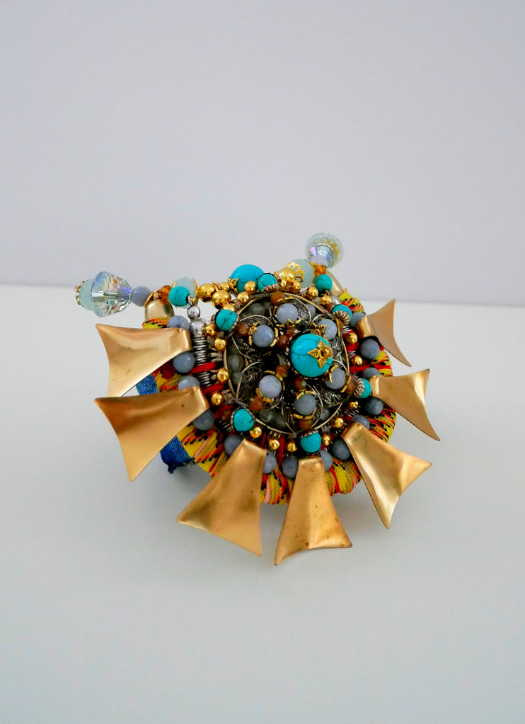 Mbali Multi-Beaded, Swarovski Crystal, Turquoise And Brass Plated Fan Cuff Bracelet