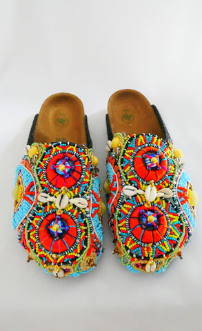Multi-Beaded and Shell-Embellished Custom Birkenstock Amsterdam Vegan clogs