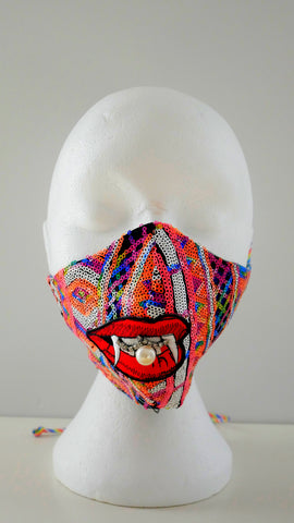 Multi-Coloured Sequin Pearly Fang Facemask with Rhinestones