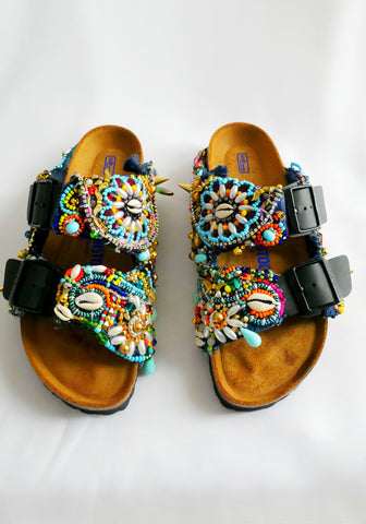 Multi-Glass Beaded and Crystal-Embellished Customised Arizona Birkenstock Women's Double Strap Sandals