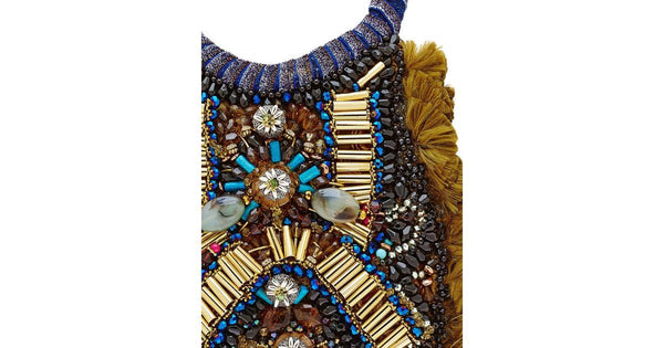 Nora Beaded Embellished Tassel Statement Necklace