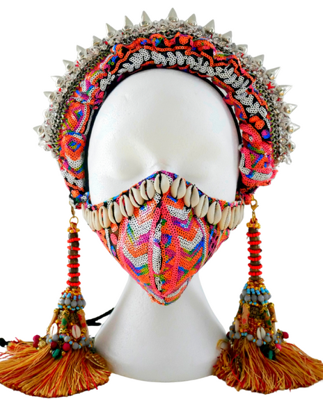 Ndidi Studded and Beaded Embellished Headband with Detachable Tassel Earrings