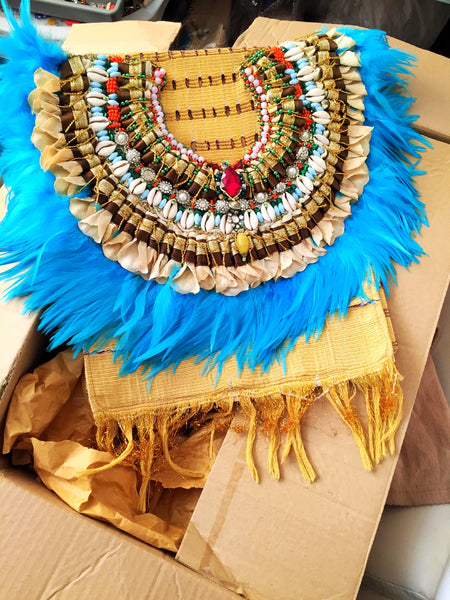 Odette Beaded Shell and Petal-Embellished Aso-Oke Fringed Feather Shoulder Bag