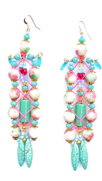 Phaedra Gemstone-Embellished Ladder Drop Earrings