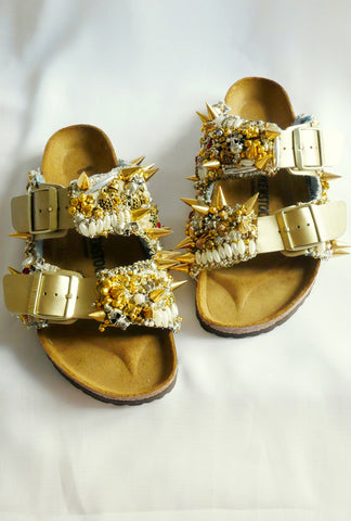 Punk Stud Beaded and Crystal-Embellished Custom Made Arizona Birkenstock Unisex Double Strap Sandals