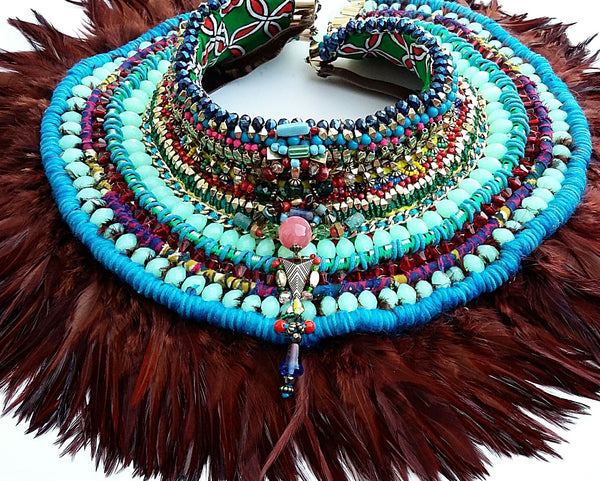 Raina Beaded Feather Neckpiece