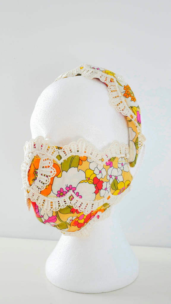 Reusable Washable Vintage Lace Floral Print Facemask