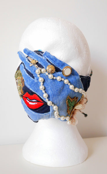 Reusable, Washable, Beaded and Embellished Rosary Denim Face Mask