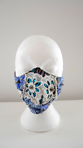 Reusable, Washable, Distressed, Studded, Patch Work Denim, And Lace Face Mask