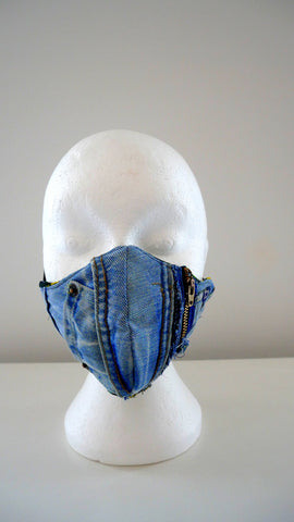 Reusable, Washable, Distressed Patchwork Denim Face Mask With Filter Pockets