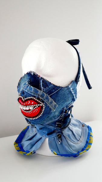 Reusable Washable Distressed High-Neck Crystal-Encrusted Face Mask With Lips
