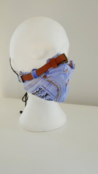 Reusable, Washable, Distressed, Denim Face Mask With Belt Detail And Filter Pocket