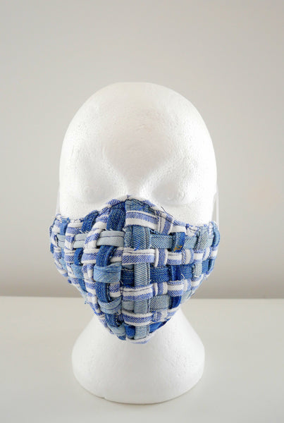 Reusable, Washable, Distressed, Denim, And Cotton Weave Face Mask