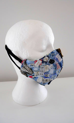 Reusable, Washable, Distressed, Label Denim Face Mask