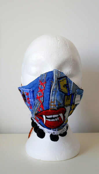Reusable, Washable, Don't Bite Me, IKEA Denim Face Mask, With Pom-Poms 2