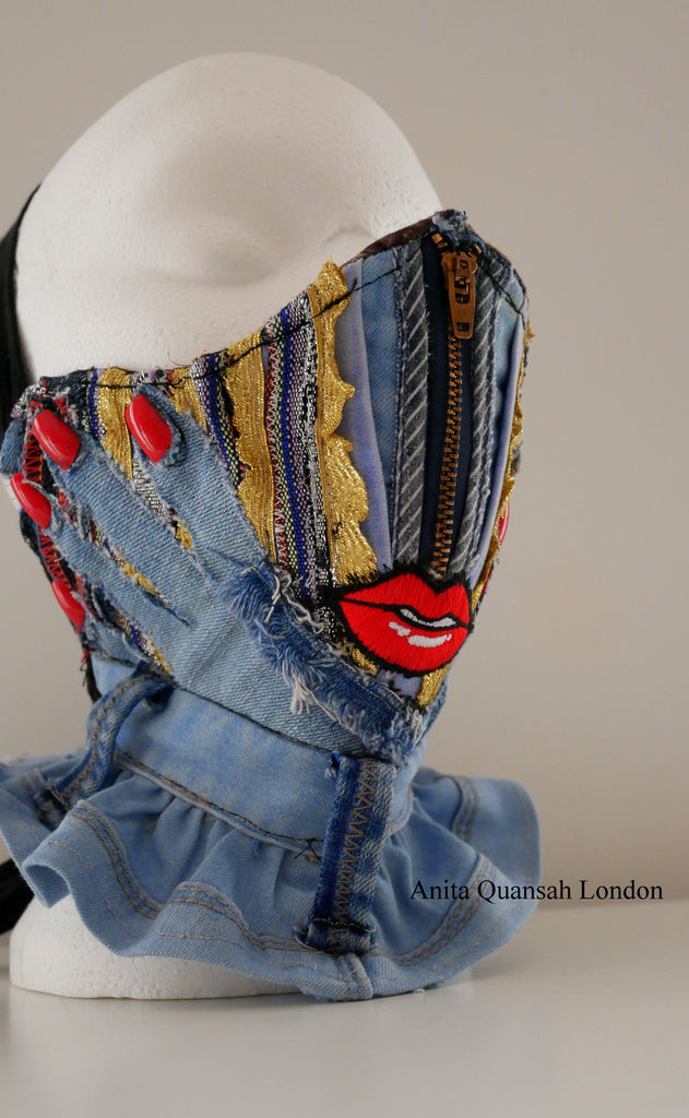 Reusable, Washable, I Look And Wonder, Denim Face Mask With Red Lips