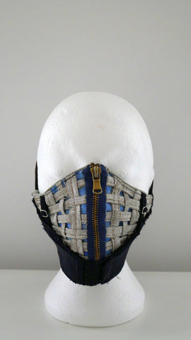Reusable, Washable, Metallic Weave, Zipped, Brassiere, Denim Face Mask