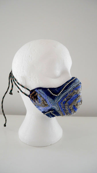 Reusable, Washable, Metallic, And  Denim Chevron, Rhinestones Face Mask