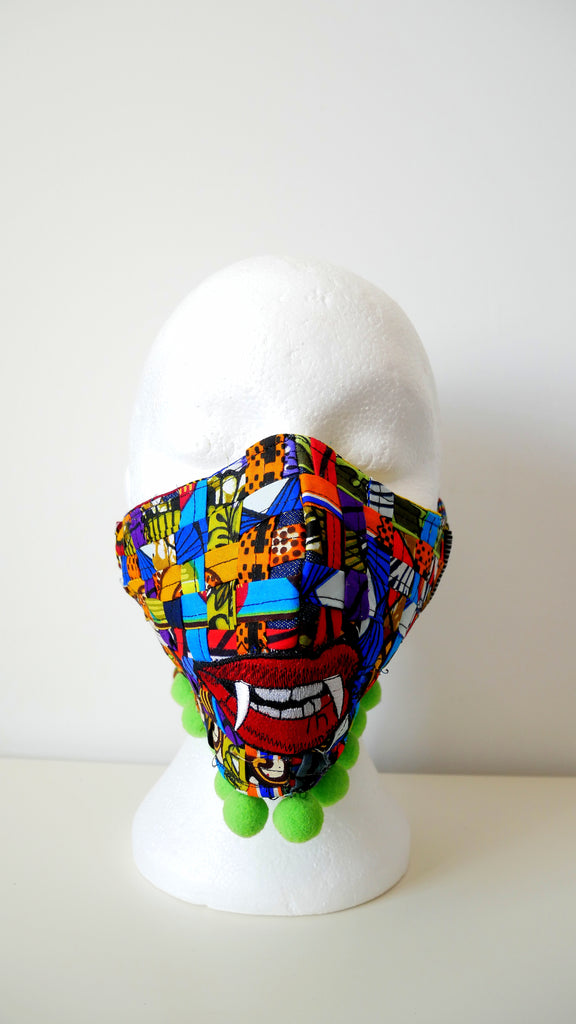 Reusable, Washable, Don't Bite Me, Mixed-Print, Weave Face Mask, With Pom-Poms