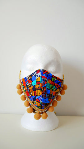 Reusable, Washable, Mixed-Print, Weave Face Mask, With Pom-Poms And Rhinestones