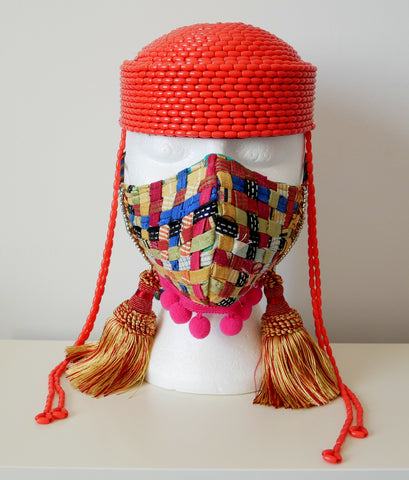 Reusable, Washable, Mixed Textile Print, Weave Face Mask, With Tassels