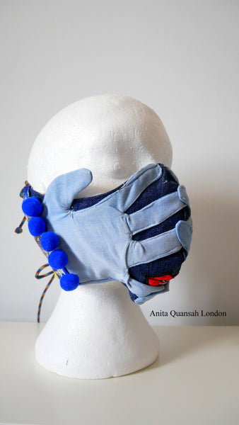 Reusable, Washable, Oh, No! What Have I Done?  Denim Face Mask With Lips