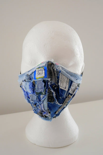 Reusable, Washable, Label Collage, Denim Face Mask