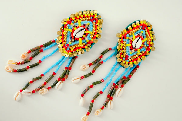 Selene Multi-Beaded Embellished Shell And Jasper Fringe Clip-On Earrings